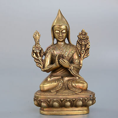 Collectable China Old Brass Hand-Carve Buddhism Kwan-Yin Moral Bring Luck Statue