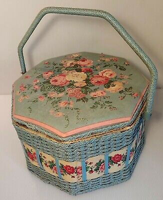VTG Azar Sewing Basket Case Kit Full w/ Extras Fun Buttons Cool Items Supplies