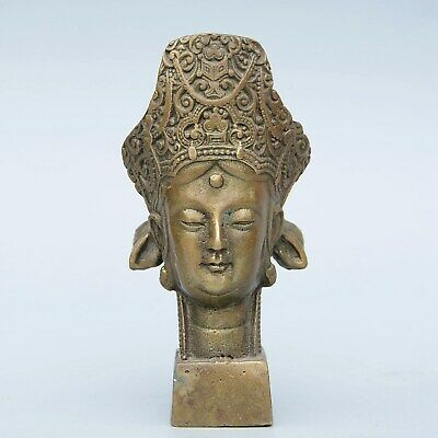 Collectable Handwork China Old Bronze Carve Buddhism Kwan-Yin Luck Seal Statue