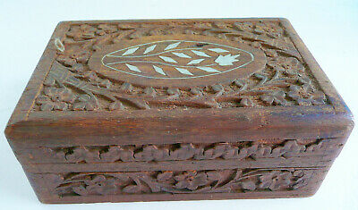 Vintage Hand Carved Wooden Box One Leaf Inlay Is Missing Lined Inside Trinket Bo