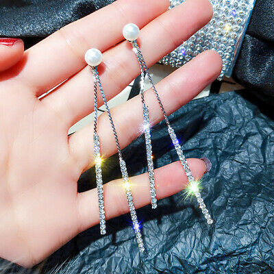 Jewelry Crystal Gift Long Tassel Rhinestone Wedding Drop Earrings Dangle Fahsion