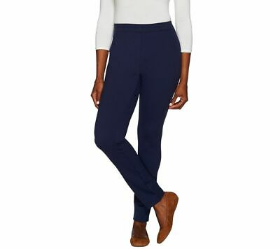 Denim & Co. Size 18WP Petite Navy Ponte Knit Pants with Seaming Detail