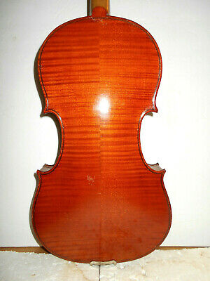Vintage Old Antique 2 Pc.Curly Maple Back Full Size Violin - No Reserve