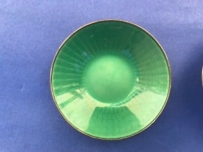 David Andersen sterling silver enamel  green yellow orange blue salt dish bowl