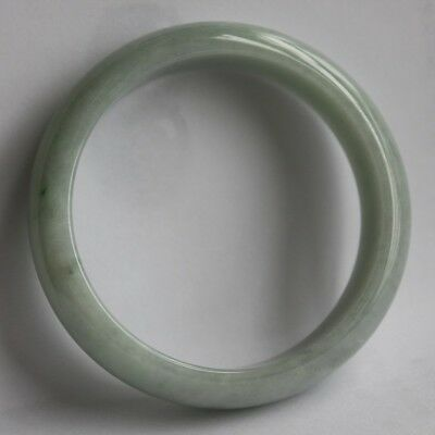 Natural Jade Certified Grade A Untreated Light Green Chinese Jadeite Bangle 57mm