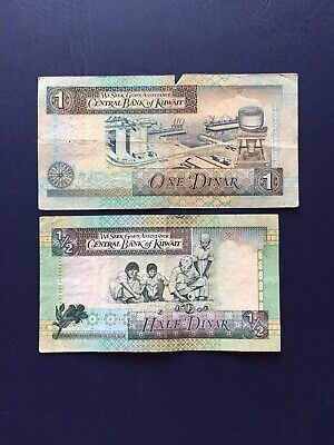 Kuwait 1/2 & 1 Dinar Bank Note. Ideal For Collection