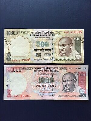 Indian Rupee 1k & 500 Denomination Bank Note. Ideal For Collection