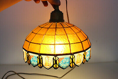 (VTG) Old style beer stained glass plastic Tiffany style lamp light up sign rare