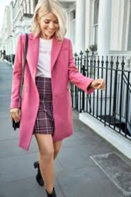 M&S Holly Willoughby berry wool coat size 10