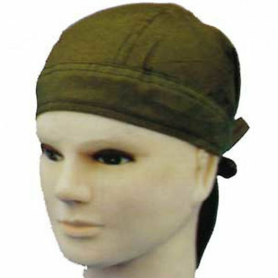 Plain Green Fitted Bandana Zandana DuRag Head Wrap Scarf Easy Tie Cotton Chef