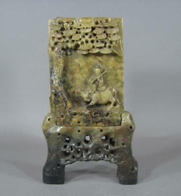Unusual Antique Chinese Carved Soapstone Table Screen, 19THC, Scholar Object