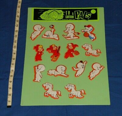 vintage CASPER THE FRIENDLY GHOST MAGNETIC PUFFY STICKERS + STORE DISPLAY