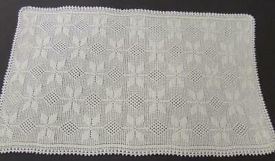 Lovely Vintage Hand Crocheted White Centrepiece Mat - 50 x 31 cm