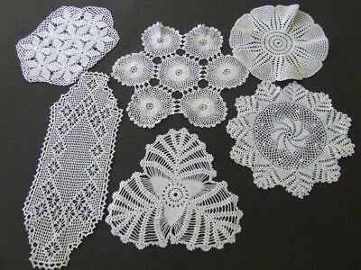 Six Beautiful Vintage Finely Hand Crocheted White Doilies Incl a Sandwich Doily