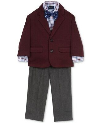 Nautica Baby Boys 4PC Suit Maroon Red Gray USA 12 Months Two-Button $40- 886