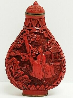 Vintage Chinese Snuff Bottle Signed - Hand Carved Cinnabar Resin Temple Pagoda