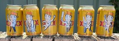 XXXX Gold Cricket Set of 6  Special Limited Edition Cans Bottom Opened