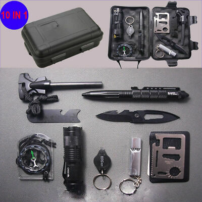 10in1 Outdoor Emergency Survival Kit EDC Tools Military Camping Disaster Zombie