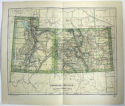 Original 1895 Map of Colorado & Utah by Dodd Mead & Company. Antique