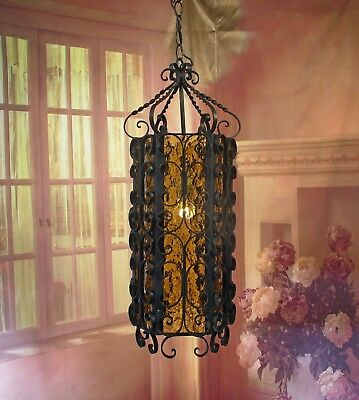 Antique Vintage  Scrolled Wrought Iron Fixture Chandelier Amber Glass Pendant