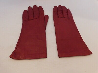 Grandoe Ladies Red Leather Dress Gloves Nylon Lining Size 7
