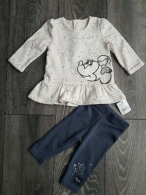 Baby Girls Disney Minnie Mouse Sweatshirt and Joggers Outfit BNWT