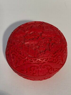 Chinese Cinnabar Red Lacquer Carved Box Pagoda Mountain Round Lidded Trinket Pot