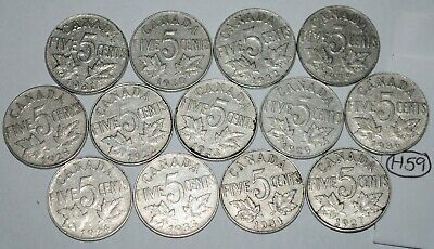Canada 1922 to 1936 5 Cents George V Canadian Nickels 13 coins Lot #H59