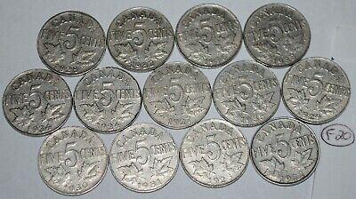 Canada 1922 to 1936 5 Cents George V Canadian Nickels 13 coins Lot #F20