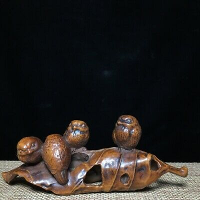 Collect China Old Boxwood Hand-Carved Lovely Bird & Tree Leaves Delicate Statue