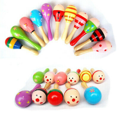 10Pcs 11.5cm Wooden Maraca Wood Rattle Musical Toy Party Baby Shaker Toy