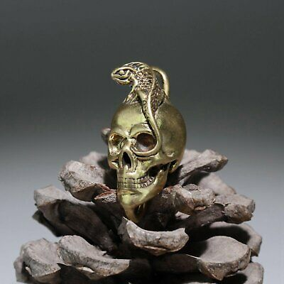 Collectable Old Bronze Hand-Carved Skull & Lizard Statue Delicate Evil Pendant