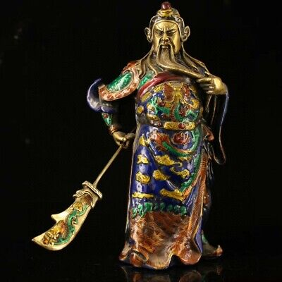 Collect Old Cloisonne Hand-Carved China Ancient General Guan Yu Memorial Statue