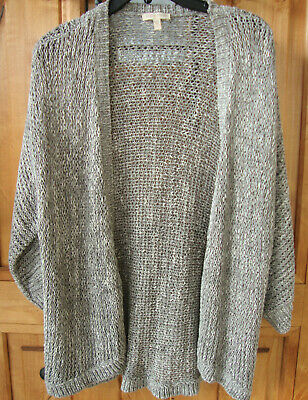 Eileen Fisher Heather Gray Open Front Loose Knit Cotton Blend Cardigan Size L