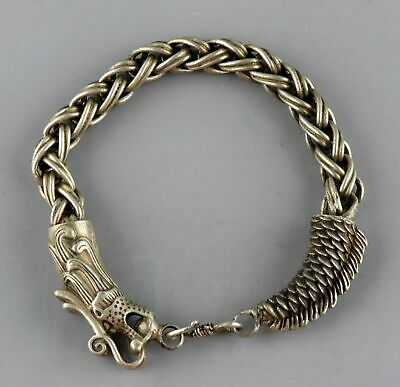 Collect China Antique Old Tibet Silver Hand Carve Myth Dragon Exorcism Bracelet