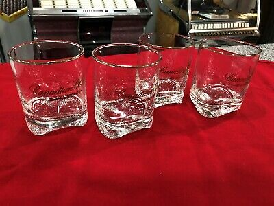 """4 Canadian Club Whiskey """"Be A Part Of It"""" Gold Rim Wave Bottom Glasses"""