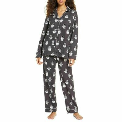 NEW PJ Salvage Just Chillin' Penguin Gray Flannel Pajamas Set Size Large M