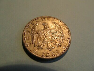 1931-G Key Date 2 Reichsmark silver coin, nice XF/AU Condition
