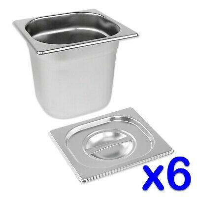 STAINLESS STEEL FOOD PANS 6x GASTRONORM 1/6 TRAYS AND LIDS 150mm DEEP BAIN MARIE