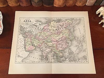 Original 1892 Antique Map ASIA China Japan Nepal Tibet Korea India Russia Persia