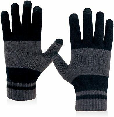 LETHMIK Winter Touchscreen Knit Gloves Mens Warm Wool Lining Texting for Smartph