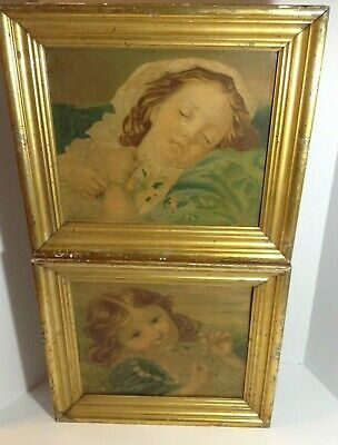 """2 Old Framed Paintings Of Children, Unknown Artist Unknown Date 11.5"""" x 9.5"""""""