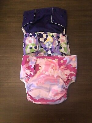 Cloth Diapers One Size Lot/3 Soccer, Purple, Pink Camouflage All In One + Pocket