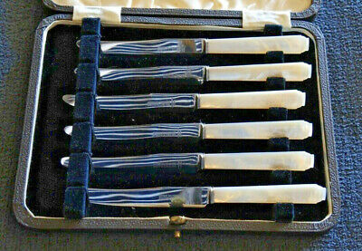 Set 6 Art Deco Breakfast Tea Knives Stainless Mother Of Pearl Boxed Unused