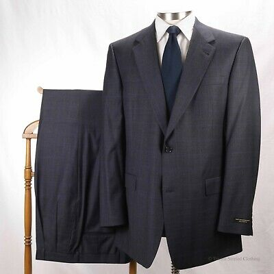 New! HART SCHAFFNER & MARX Grey Blue Shadow Check 2-Button Suit 44L USA-made