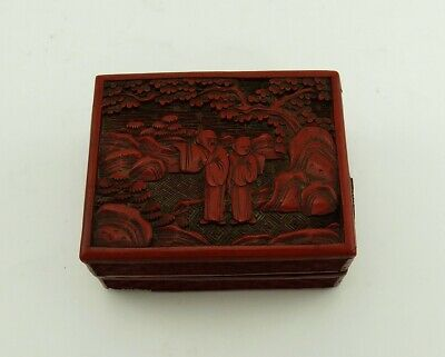 Antique Cinnabar Red Chinese Qing Dynasty Hand Carved Lacquerware Box