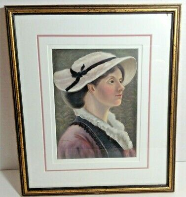 """Framed Painting Portrait of an 1800s Woman in Hat 7.5"""" x 5.5"""" Unknown Artist"""