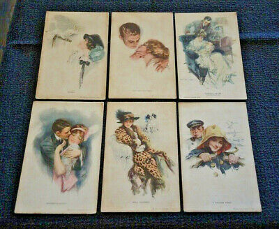 6 Harrison Fisher R & N Water Color Series Nos. 384 386 388 390 392 705 Unposted