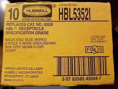 Hubbell HBL5352I Duplex Receptacle, 3-wire Grounding, 20A, 125V, IVORY Lot of 10