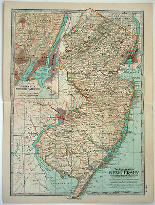 Original 1902 Map of New Jersey by The Century Company. Antique NJ
